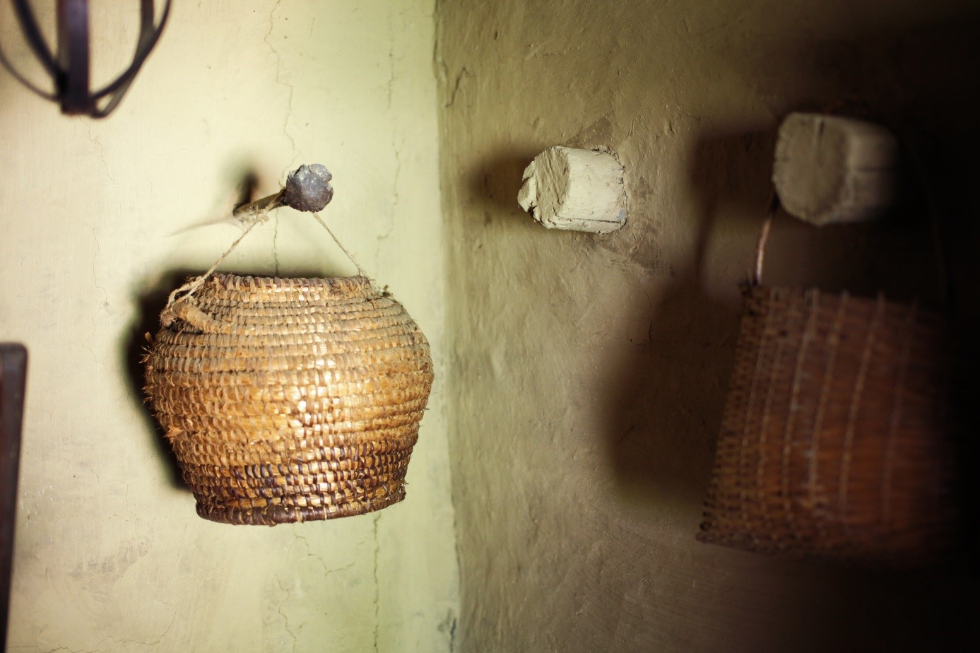 Basket on the wall in a rural house